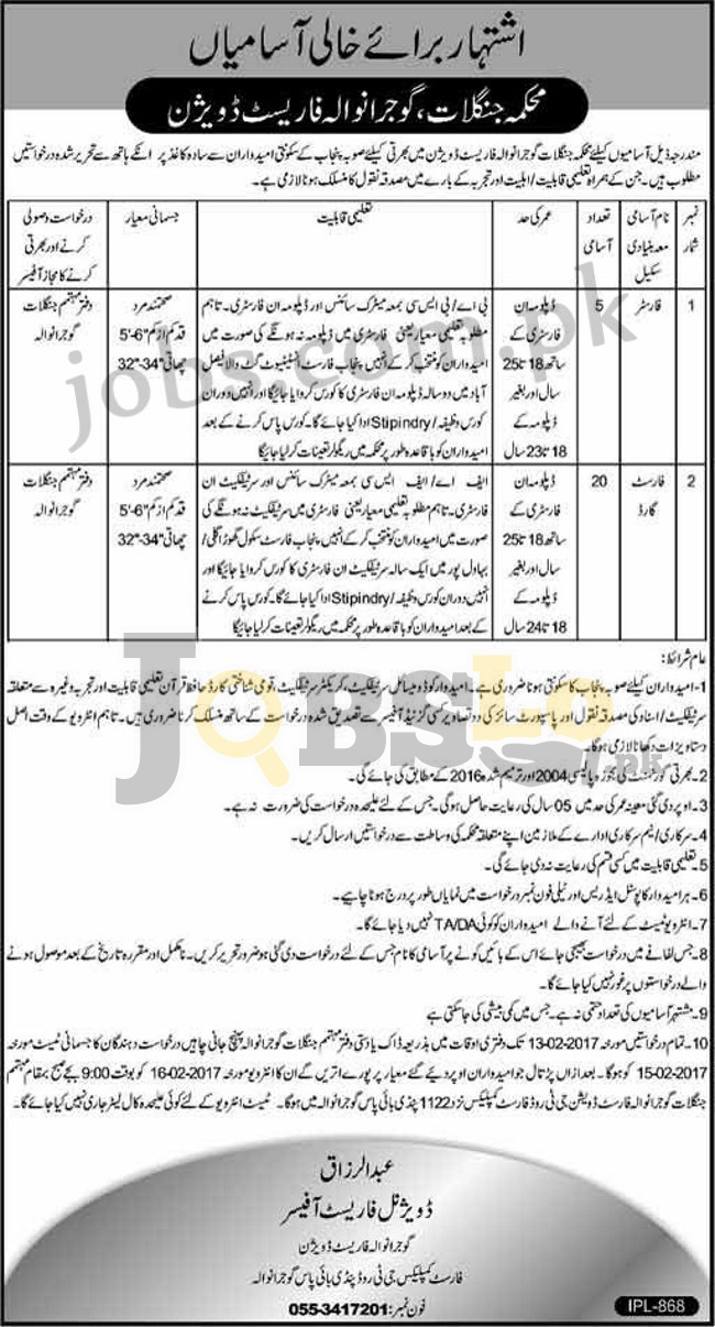 Forest Department Gujranwala Jobs