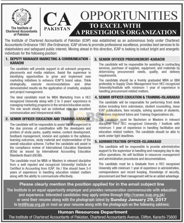 Institute of Chartered Accountants of Pakistan Jobs 2017 Online Apply Last Date