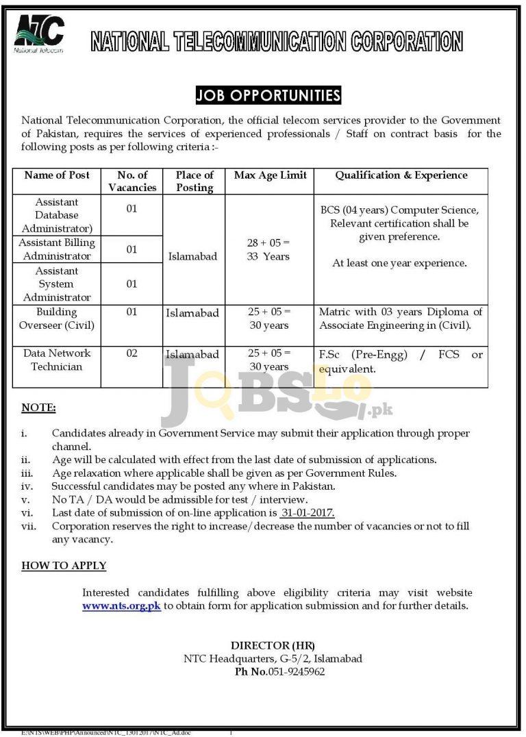 National Telecommunication Corporation Jobs 2017 NTS Form Download nts.org.pk