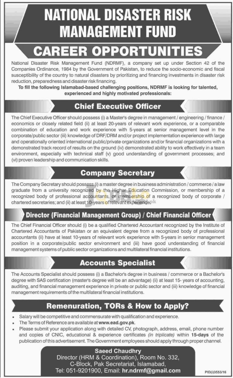 National Disaster Risk Management Fund Islamabad Jobs 2017 Career Offers