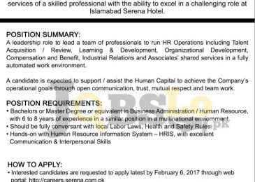 Serena Hotel Islamabad Jobs Jan 2017 For Director Human Resource