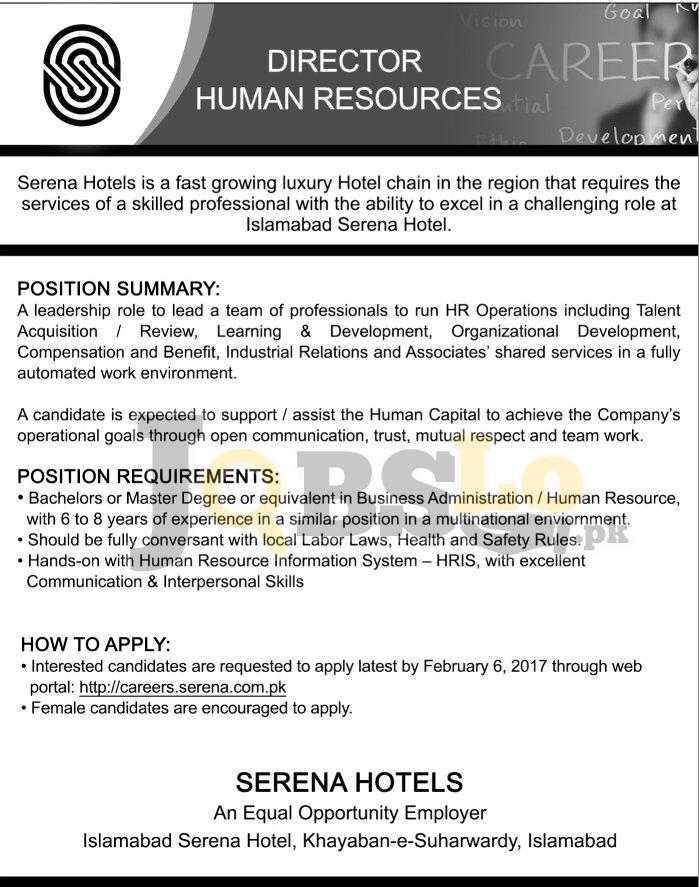 Serena Hotel Islamabad Jobs Jan 2017 For Director Human Resource