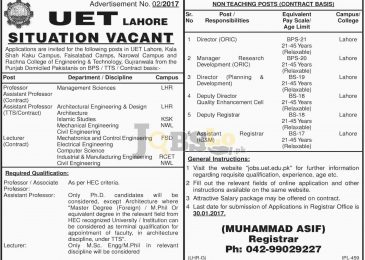 UET Lahore Jobs 2017 University of Engineering & Technology Latest Add