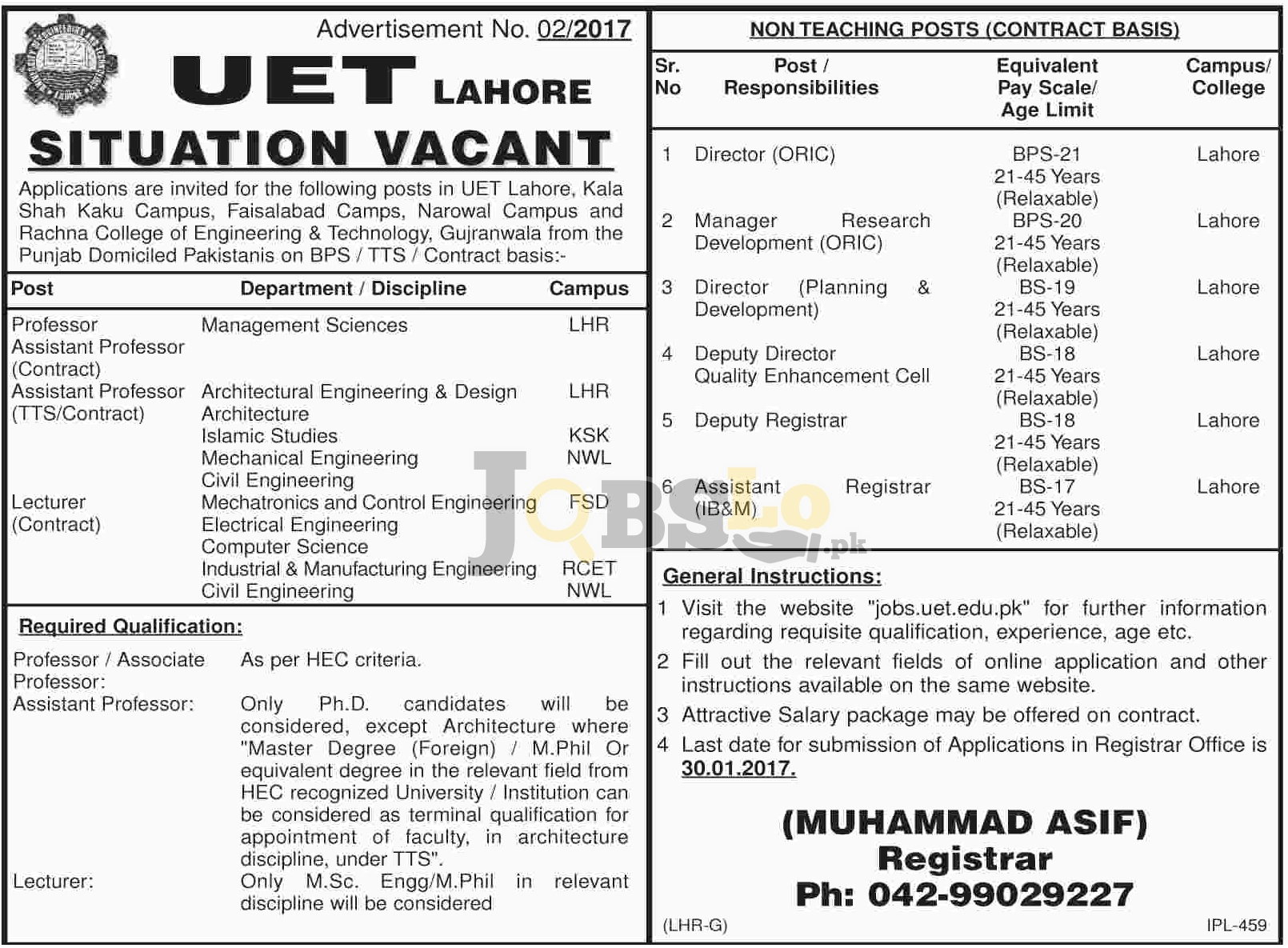 UET Lahore Jobs
