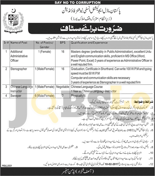 Pakistan Model Educational Institution Foundation Lahore Jobs 2017 For BPS-16 To BPS-02
