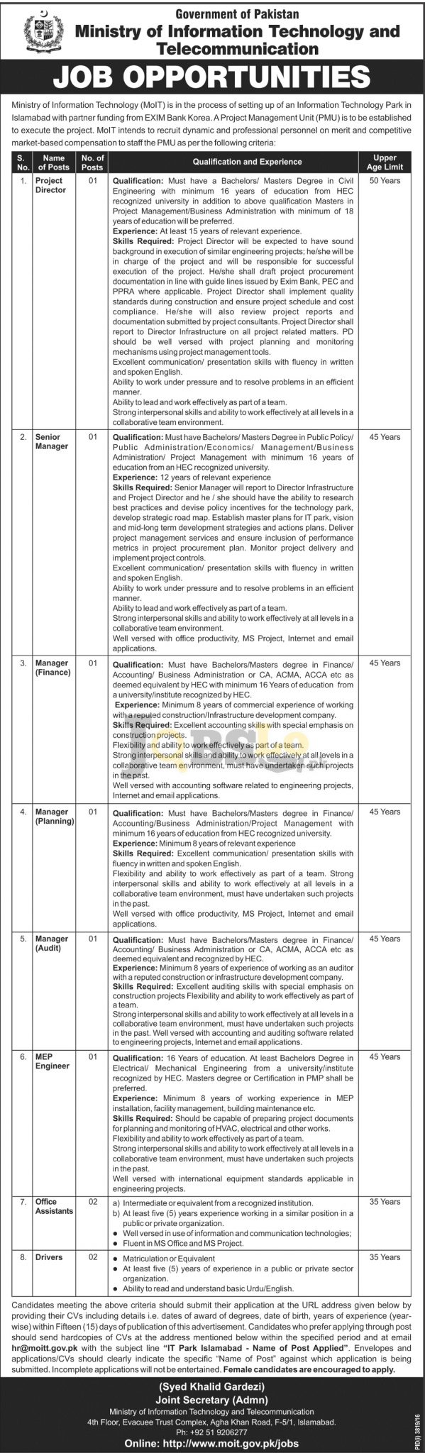 MOIT ISB Jobs