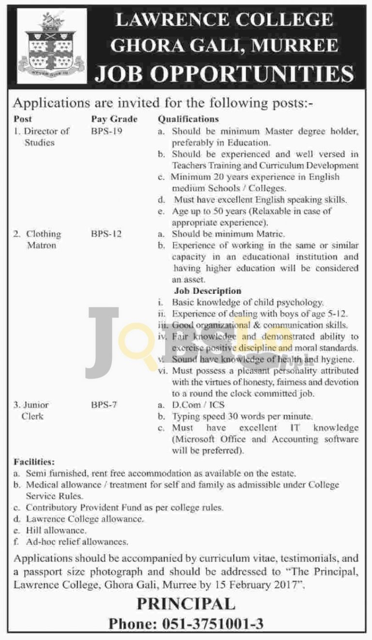 Lawrence College Murree Jobs 2017 January Career Opportunities