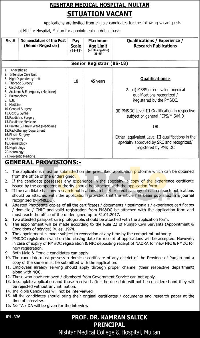 Nishtar Medical Hospital Multan Jobs
