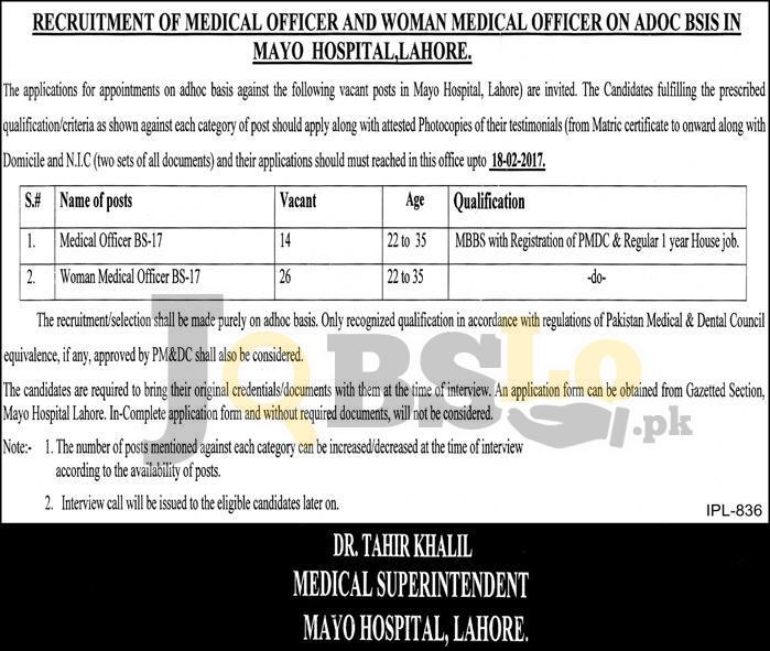 Mayo Hospital Lahore Jobs 2017 January Current Vacancies Add