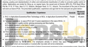 Pakistan Cotton Standards Institute Karachi Jobs