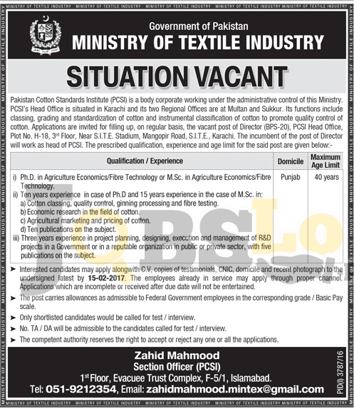 Pakistan Cotton Standards Institute Karachi Jobs