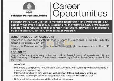 Pakistan Petroleum Limited Jobs Jan 2017 For Geologist Eligibility Criteria
