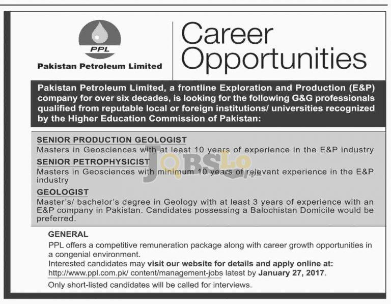 Pakistan Petroleum Limited Jobs Jan 2017 For Geologist Eligibility Criteria