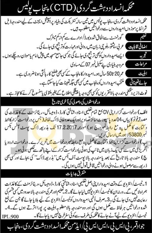 Punjab Police CTD Jobs