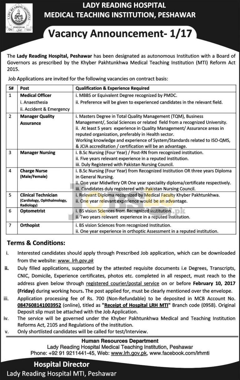 Lady Reading Hospital Peshawar Jobs 2017 Application Form Download lrh.gov.pk
