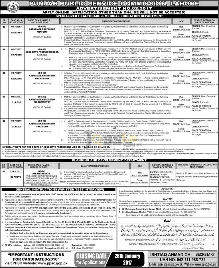 PPSC Jobs Advertisement No.02/2017 Apply Online ppsc.gop.pk