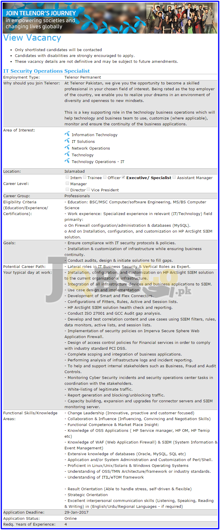 Telenor Islamabad Jobs 2017 Current Employment Opportunities Add