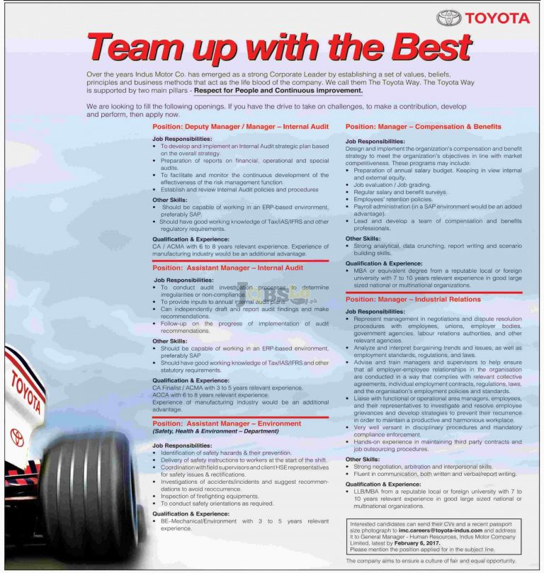 Toyota Pakistan Jobs 2017 For Manager Industrial Relation Eligibility Criteria