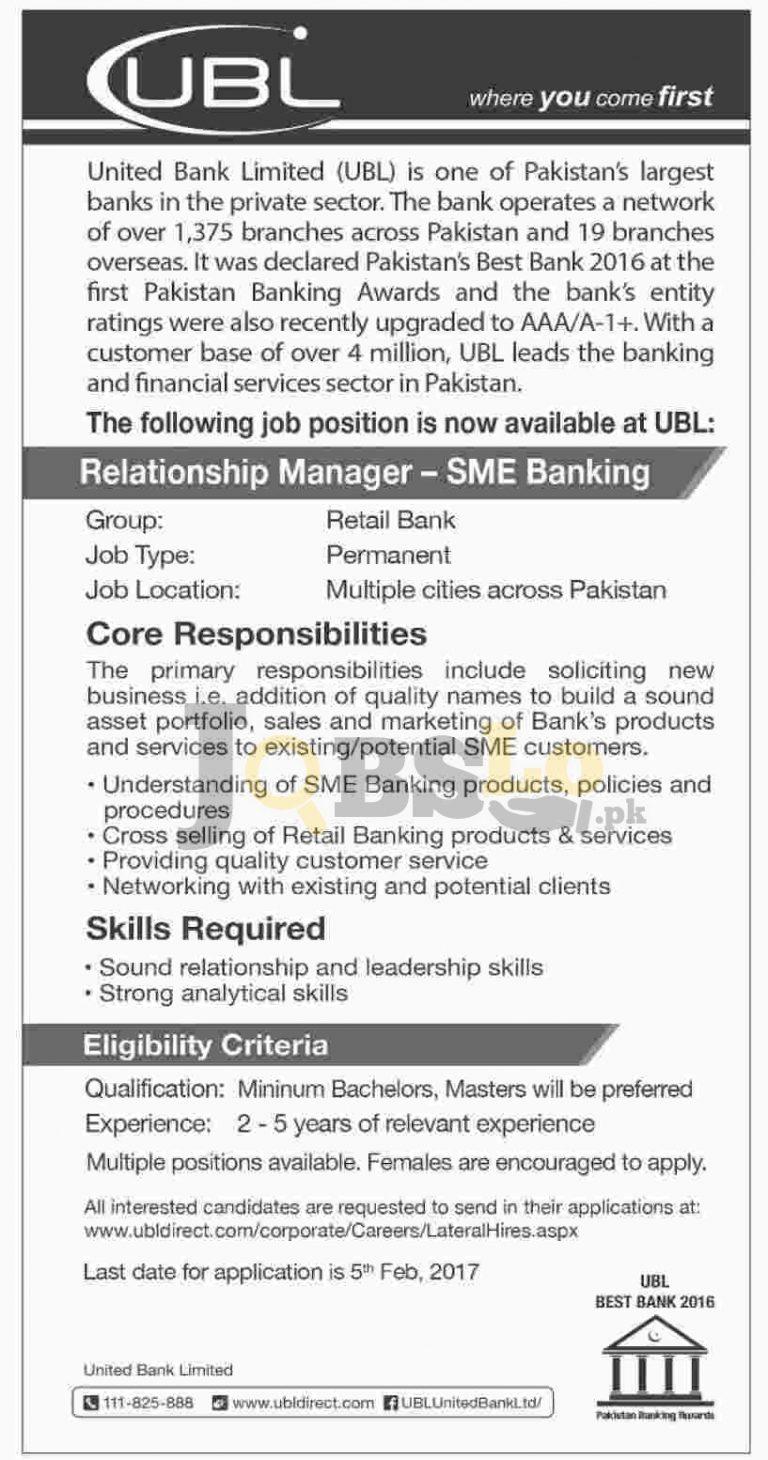UBL Bank Jobs Jan 2017 For Relationship Manager-SME Banking Latest Add