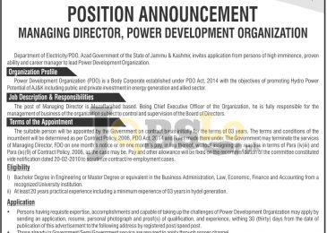 AJK PDO Jobs 2017 Power Development Organization Muzaffarabad Latest Add