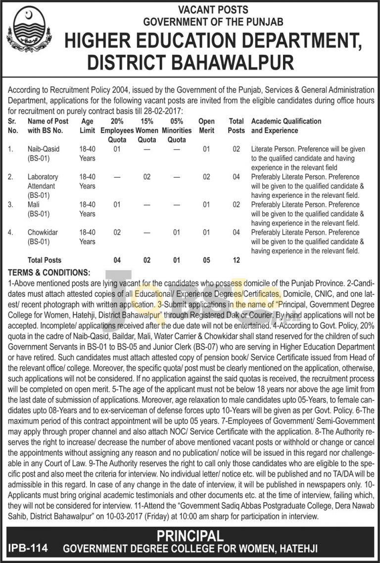 Higher Education Department Jobs 2017 in Bahawalpur For BPS-01 Latest