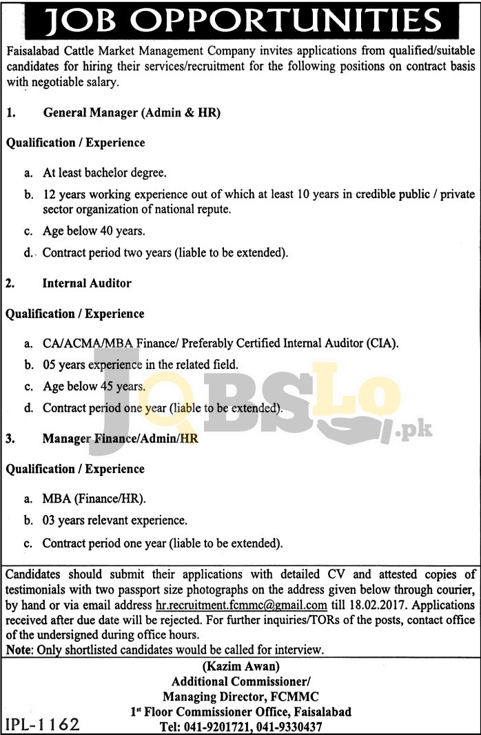 Faisalabad Cattle Market Management Company Jobs