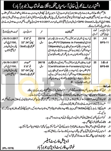 Forest Department Jobs 2017 Khushab For Forester Eligibility Criteria