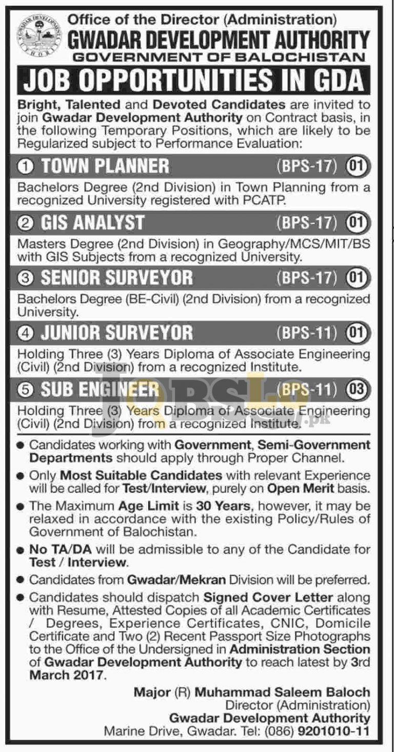 Gwadar Development Authority Jobs 2017 For Sub Engineer Eligibility Criteria