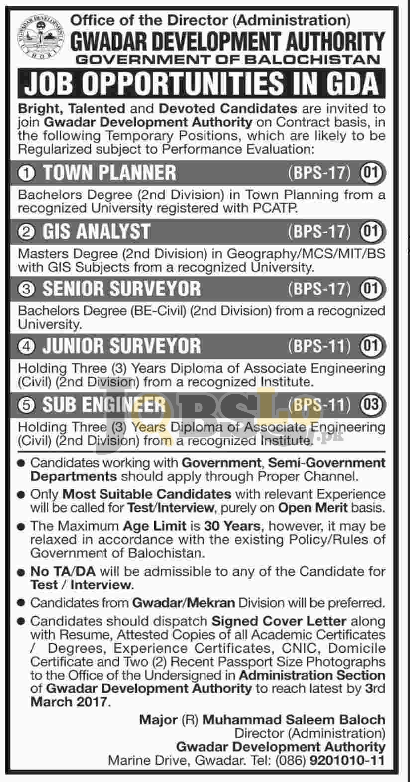 Gwadar Development Authority Jobs