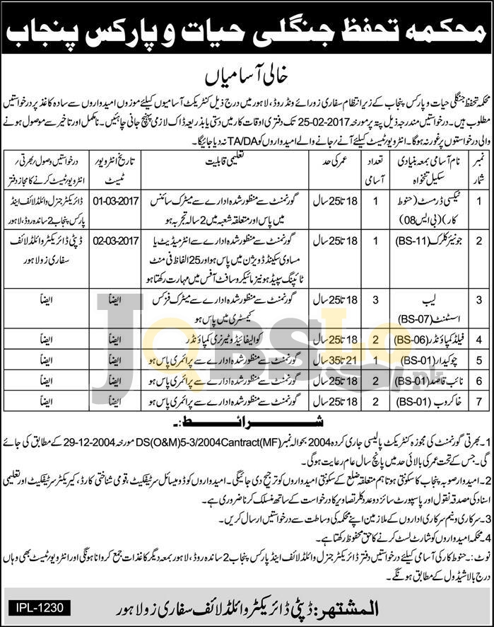 Wildlife Protection & Parks Department Lahore Jobs