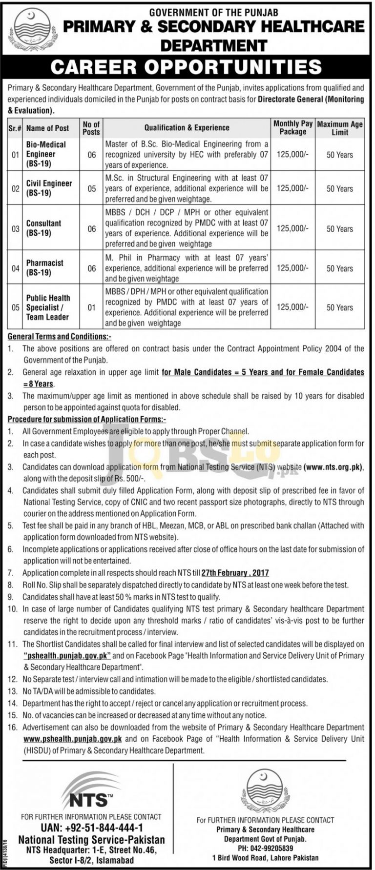 Primary & Secondary Healthcare Department Punjab Jobs 2017 NTS Form Download