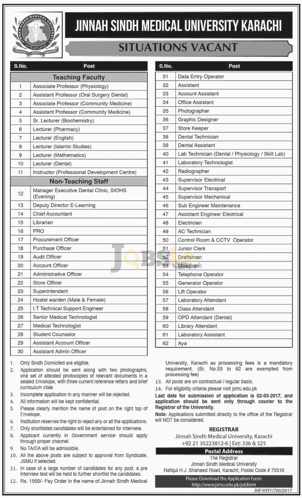 JSMU Karachi Jobs 2017 Current Employment Opportunities Advertisement