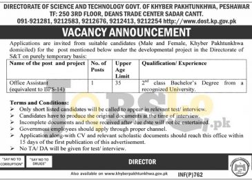 Directorate of Science & Technology Peshawar Jobs 2017 Advertisement Latest