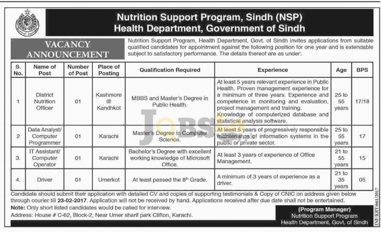 Health Department Sindh Jobs 2017 For District Nutrition Officer Eligibility Criteria