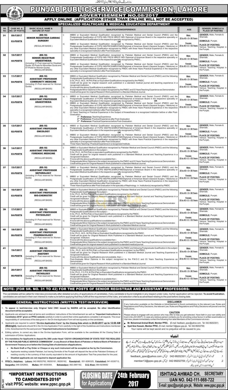 PPSC Jobs 2017 Specialized Healthcare & Medical Education Department Latest