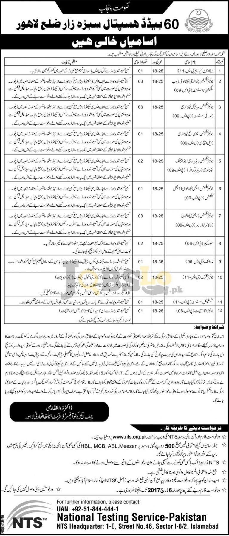 Health Department Lahore Jobs 2017 For BPS-11 To BPS-08 NTS Application Form