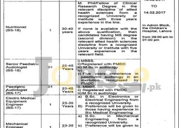 Children's Hospital Lahore Jobs 2017 For BS-18 & BS-17 Latest Add