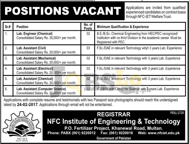 NFC Institute of Engineering & Technology Multan Jobs 2017 Current Offers