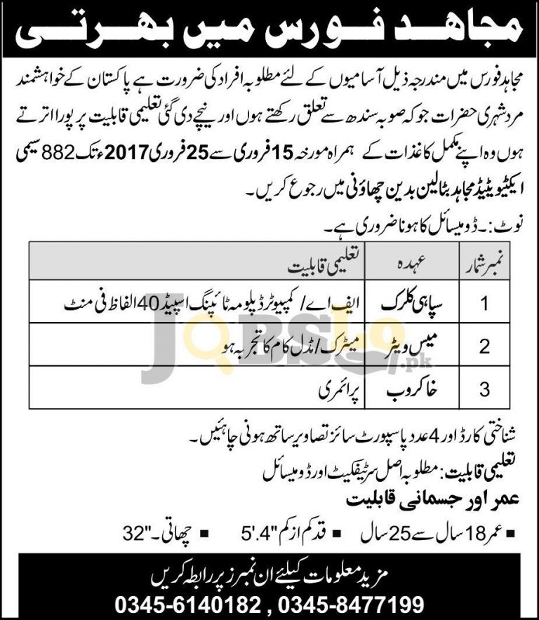 Pakistan Army Mujahid Force Jobs 2017 Sindh Employment Opportunities