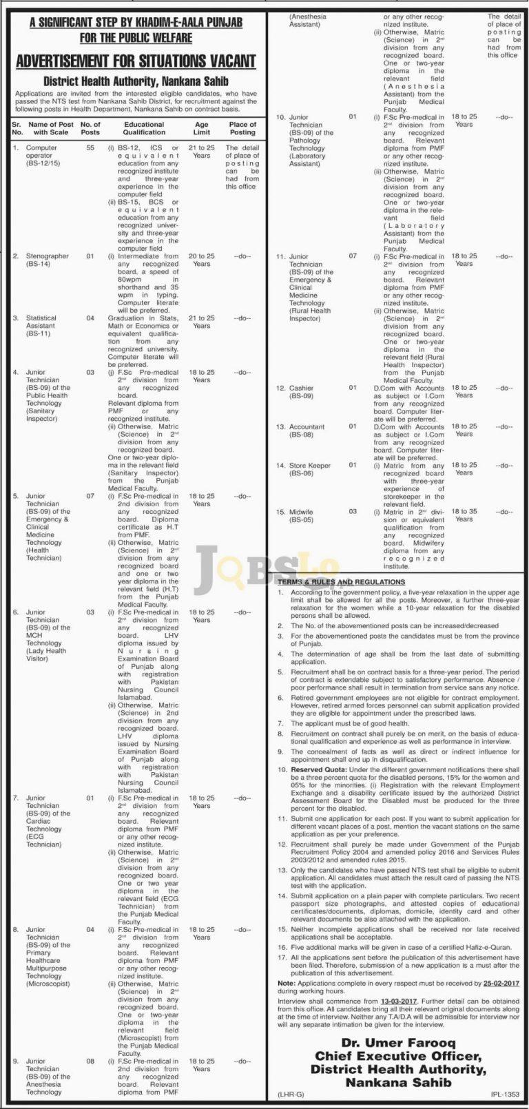 Health Department Nankana Sahib Jobs 2017 Current Employment Offers