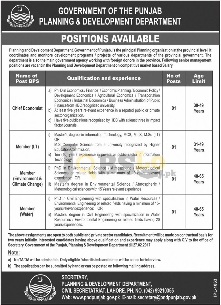 Planning and Development Department Punjab Jobs Feb 2017 Current Openings