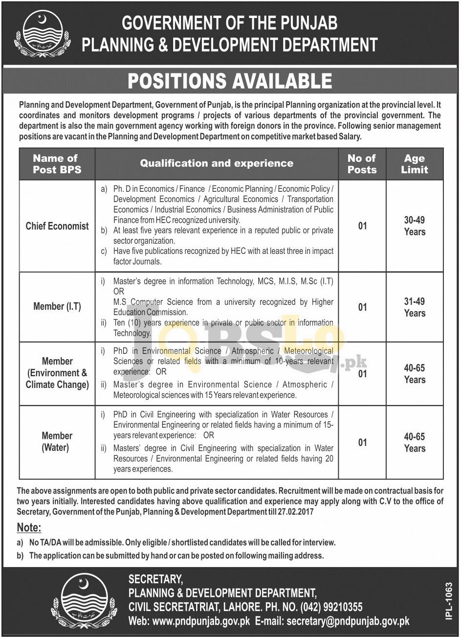 P&D Dpt Punjab Jobs