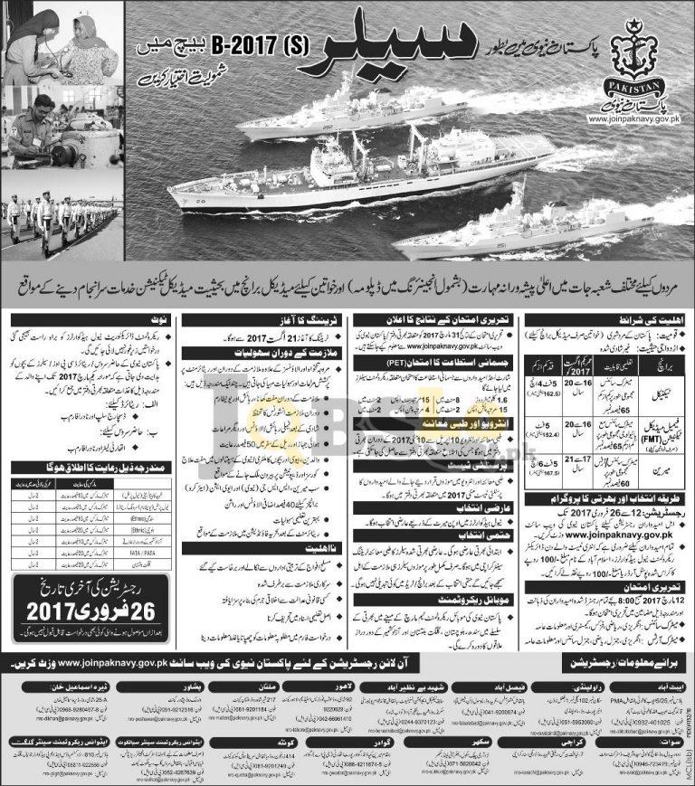 www.joinpaknavy.gov.pk 2017 Jobs as Sailor Online Registration Form Latest