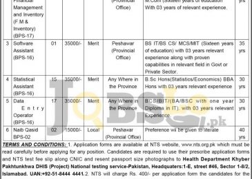 Health Department KPK Jobs 2017 For District Health Information System Cell
