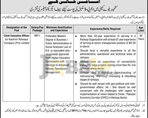 Ministry of Pak Railways Jobs