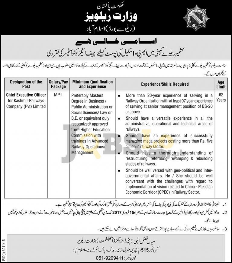 Ministry of Railways Pakistan Jobs 2017 For MP-01 Scale Career Offers