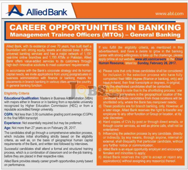 Allied Bank MTO Jobs 2017 ABL Management Trainee Officer Apply Online