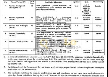 Pakistan Tobacco Board Jobs 2017 For Research Officer PTS Application Form