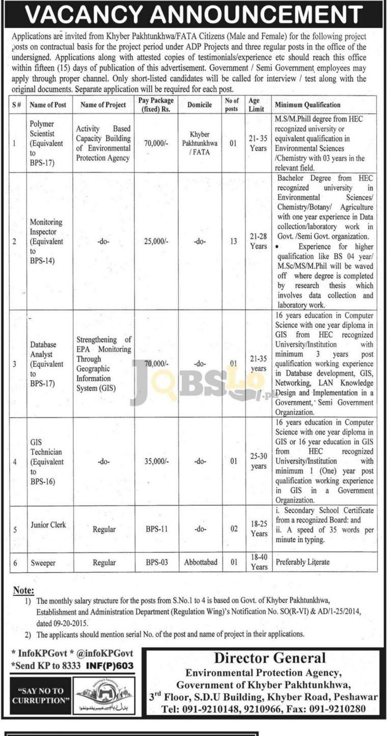 Environmental Protection Agency Peshawar Jobs 2017 Govt of KPK Career Offers