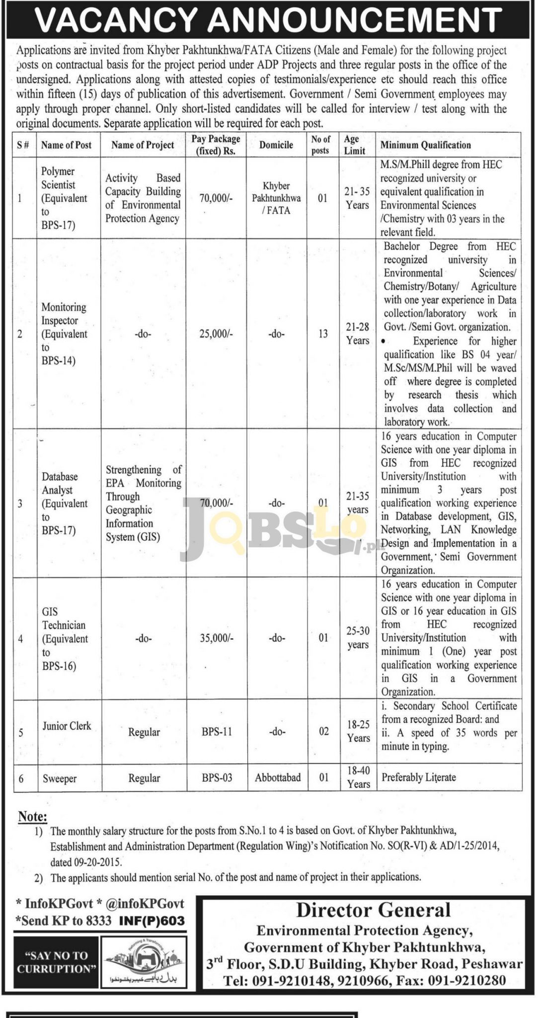 Environmental Protection Agency Peshawar Jobs